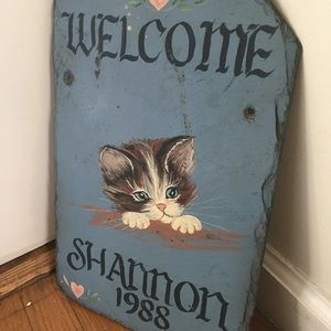 80's Kitten Painting Plaque/ Wall Art on Slate